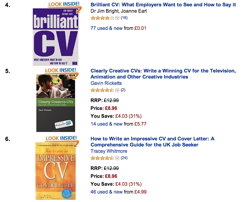 Clearly Creative CVs is currently in Amazon's Top 5 CV books chart!